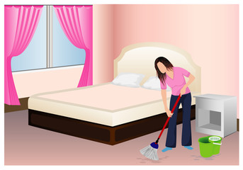 the lady cleaning the room vector design