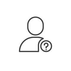 Question user line icon, outline vector sign, linear style pictogram isolated on white. Profile with question mark symbol, logo illustration. Editable stroke