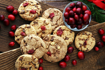 Wall Mural - delicious cranberry cookies for xmas with fresh cranberries