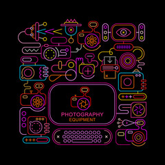 Photography Equipment neon vector banner