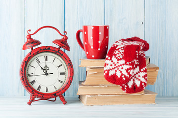 Christmas alarm clock and hot chocolate