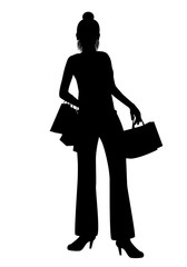 silhouette lady with paper bag vector design