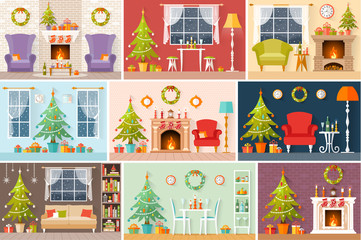 Set of vector Christmas interiors in a flat style. The rooms are decorated for the new year. A series of Christmas and New Year greeting cards.