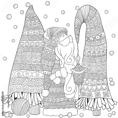 cartoon santa with christmas trees merry christmas set of xmas hand drawn decorative