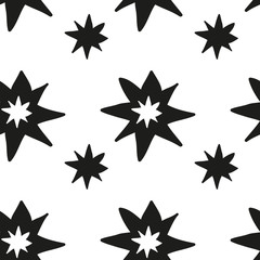 Monochrome geometric seamless pattern with hand draw Christmas stars