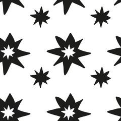 Christmas stars hand draw monochrome seamless pattern
