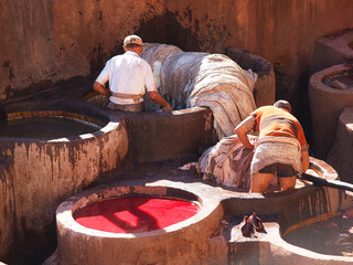 Man standing waist deep in dyes - Coloration of leather in a ancient traditional leather tanneries tannery, Fes, Morocco, Africa