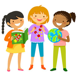 Curious girls interested in scientific subjects