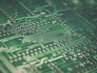 leiterbahnen eines logic boards als closeup