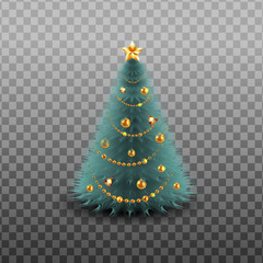 Christmas tree with sniny golden garland, jingle bells, gold star isolated on transparent background. Vector illustration.