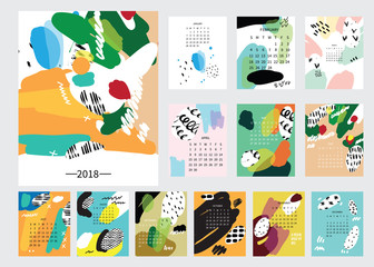 Modern 2018 monthly calendar with hand drawn paintings and textures.