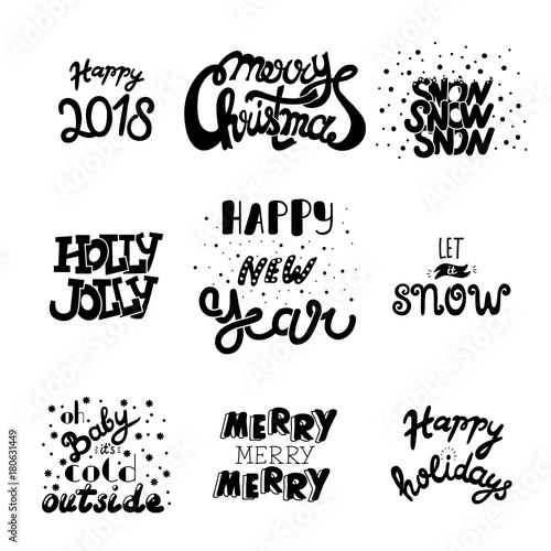 vector hand drawn christmas and new year quotes and wishes hand draw lettering collection