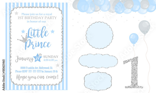 Blue And Silver Prince Party Decor Cute Happy Birthday Card Template Elements