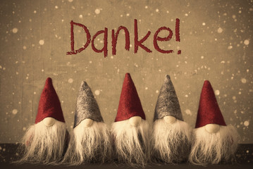 Gnomes, Snowflakes, Danke Means Thank You