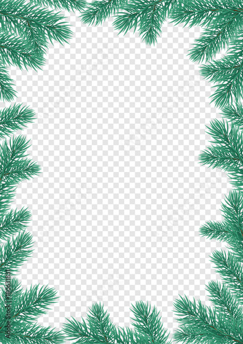 christmas holiday greeting card background template of new year fir or pine tree branch wreath frame