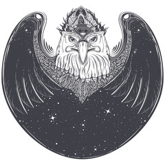 Black white tribal tattoo pattern, sketch abstract eagle head with wings, outer space and stars vector illustration isolated on white background. Predatory bird with pagan ornament, print for T-shirts