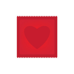 heart shaped condom icon- vector illustration