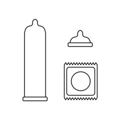 outline of condoms icons- vector illustration