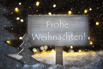 White Christmas Tree, Frohe Weihnachten Means Merry Christmas, Snowflakes