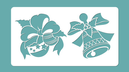 template, cliche, hand bell, New Year's spheres, bows, tapes. Laser cutting. Vector. holly