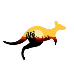Image silhouette of jumping australian kangaroo with desert bush.