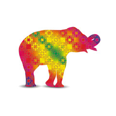 Silhouette of elephant with indian colorful seamless pattern textile.