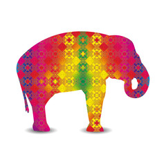 Silhouette of elephant with colorful seamless textile.