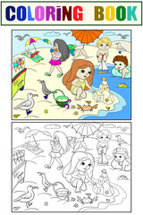 Children swimming at the beach and play with toys