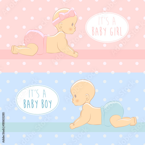 Its a boy its a girl baby shower greeting card with babies boy its a girl baby shower greeting card with babies boy and m4hsunfo