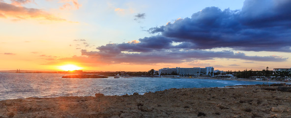 Nissi beach in Ayia Napa in stormy weather