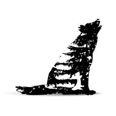 Double exposure of howling wolf with black branches pine trees.