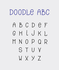 doodle ABC lettering hand-drawn fonts isolated on grey backgroun