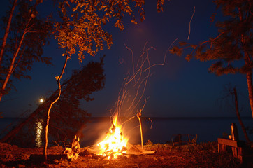 Big night bonfire on the riverbank in the forest clearing, flames, sparks and fireplace.