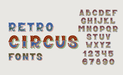 doodle retro circus fonts and numbers alphabet design set