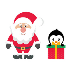 cartoon cute santa claus and christmas penguin gift