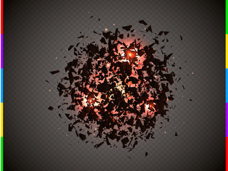 Abstract explosion cloud of black pieces with red flare and sparks. Explosive destruction. Particles on transparent background. Vector illustration.