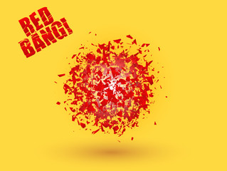 Abstract explosion cloud of red pieces on bright orange yellow background. Explosive destruction. Particles of star burst. Expressive vector illustration design element.