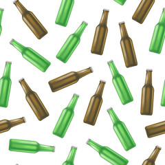 Realistic Detailed Green and Brown Glass Beer Bottle Background Pattern. Vector
