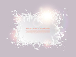 Speech bubble, exploding effect. Abstract explosion white pieces with lens flare. Explosive destruction. Particles on light banner background. Vector illustration. Easy editable