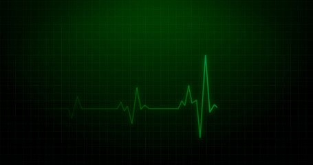 EKG Heartbeat on Monitor Recording of Pulse - Green Healthcare 3D Rendered Illustration