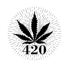 Marijuana. Cannabis leaf. Text 420. Hipster emblem. Monochrome graphic style. Badge. Abstract design vector illustration