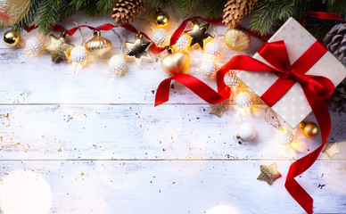 Christmas holidays composition on wooden background; Christmas tree decoration and copy space for your text