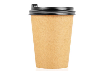 Brown paper cup of coffee on white background