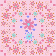 Stylized flowers  pattern,ellipses. Hand drawn.