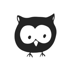 Cute hand drawn nursery poster with cartoon owl in scandinavian style. Monochrome vector illustration