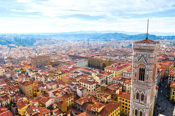 panoramic views of florence medieval city, italy