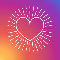 Colorful smooth gradient rainbow heart. Social media design. Sunset. Like background wallpaper, heart vector, love sign, UI element, user Interface symbol