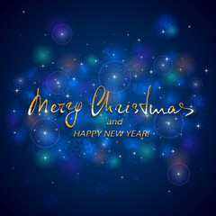 Golden lettering Merry Christmas and Happy New Year on blue background
