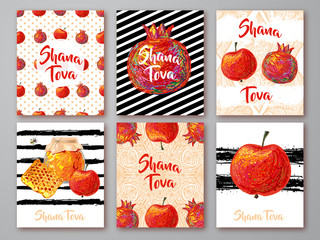 Set of greeting cards with symbol of Rosh Hashanah (pomegranate, apple, honey). Jewish new year celebration design. Happy Shana Tova. Happy New Year in Israel. Backdrop. Rosh Hashanah collection