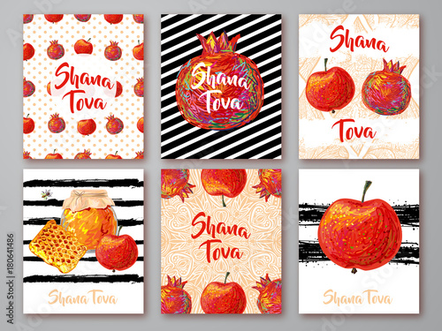 Set Of Greeting Cards With Symbol Of Rosh Hashanah Pomegranate